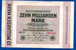 Allemagne  -  10 Milliarden  Mark - 1 /10/1923  - Pick #  117 -   état  TB+ - [ 3] 1918-1933 : République De Weimar