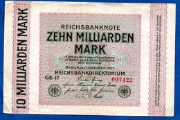 Allemagne  -  10 Milliarden  Mark - 1 /10/1923  - Pick #  117 -   état  TB+ - 10 Milliarden Mark