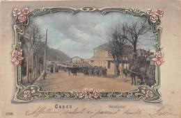 """0570 """"CUNEO - STAZIONE"""" ANIMATA, MILITARI, CARRO CON CAVALLO. CART  SPED 1906 - Cuneo"""