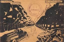 """0572 """"BRESCIA - CIRCUITO 1-2 SETTEMBRE 1907"""" ANIMATA, AUTO. CART  SPED - Brescia"""