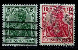 Germany 1902-1916, #82, 83, Deutsches Reich, Germania Series, Used, Light Hinge - Germany