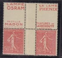 PUBLICITE SEMEUSE LIGNEE 50C ROUGE ACCP CARRE MADON-OSRAM-PHENIX-LA REDOUTE  374-394-402-460   C29 - Advertising