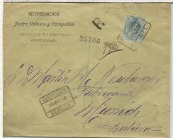 SEVILLA 1912 CC A MUNICH ALEMANIA CERTIFICADA SELLO MEDALLON ALFONSO XIII - 1889-1931 Reino: Alfonso XIII