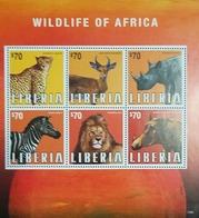 L) 2013 LIBERIA, ANIMALS, WILDLIFE OF AFRICA, LION, ZEBRA, RHINO, 70C, LEOPARD, MNH - Liberia
