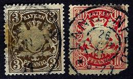 Germany, German States, Bavaria 1888-1900, Coat Of Arms, #60, 63  Wmk 95h, Used. Heavy Hinge Residue - Beieren