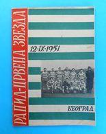 FC RED STAR BELGRADE V SK RAPID WIEN - 1951. Football Match Programme Soccer Calcio Fussball Programm Austria Osterreich - Match Tickets