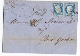E6- Lettre Pour New-york Le 18/12/74 - 1849-1876: Période Classique