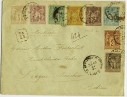 E7-15C Entier Enveloppe Recommandé Pour Bohême - 1877-1920: Periodo Semi Moderno