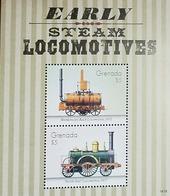 L) 2014 GRENADA, EARLY STEAM LOCOMOTIVES, TRAINS, 5C,  BLENKINSOP'S RACK LOCOMOTIVE 1812, NORTH STAR 1837, SOUVENIR, MNH - Grenada (1974-...)