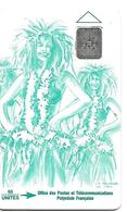 CARTE-PUCE-POLYNESIE-PF8a -SC4-60U-VAHINE VERTE-V° -5 Grands  Emboutis 36217-TBE- - Polynésie Française