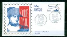 FDC (soie-silk-Seide ) # 2004 -France #  Histoire - Bicentenaire Du Code Civil # Napoleon # Paris - 2000-2009