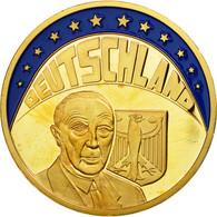 Allemagne, Médaille, Ecu, Konrad Adenauer, 1997, FDC, Copper Gilt - Allemagne