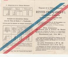 1915- Emprunt De La Défense Nationale - RENTES FRANCAISES 5% - Documenti
