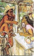 CARTE-PUCE-POLYNESIE-PF-45-60U-GEMB-06/96-0N BAVARDE SUR LES QUAIS-PEINTURE De BOULLAIRE-UTILISE-TBE - French Polynesia