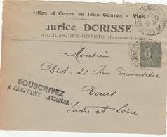LSC 1920 - Cachet Perlé ST NICOLAS DES MOTETS (Indre Et Loir) Au Dos Cachet Convoyeur Blois à Chateaurenault - Postmark Collection (Covers)