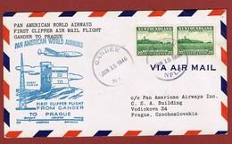Pan Am First Flight Gander To Prague  June 15, 1946; 2 Scan - Aéreo