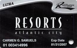 Resorts Casino - Atlantic City NJ - Slot Card - 4 Lines Text In Reverse Paragraph - Casino Cards