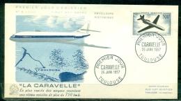 """FDC  # 1957-France # Transports -Aviation # Avion à Réaction,Düsenflugzeug ,jet  """" Caravelle """" ,Toulouse (Edit. Le  Coq) - 1950-1959"""