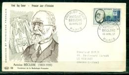 FDC  # 1957-France # Célébrités,Sciences # Antoine Béclere ,fondateur De La Radiologie #  (Edit. PAC ) - 1950-1959