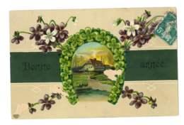 Bonne Année - Maison Dans Fer à Cheval En Trèfles A 4 Feuilles - Violettes - 5018 - Año Nuevo