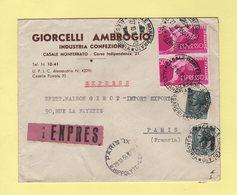 Italie - Casale Monferrato - 1954 - Expres Destination France - Pneumatique - 6. 1946-.. Repubblica