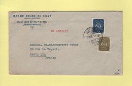 Portugal - Lisboa - Par Avion Destination Paris - 1951 - Lettres & Documents