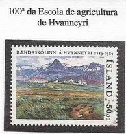 LSJP ICELAND 100 YEARS OF HVANNEYRI SCHOOL OF AGRICULTURE YVERT 659 1989 - 1944-... Republik