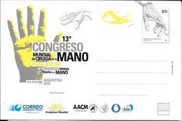 HAND SURGERY 13 CONGRESO CIRUGIA DE LA MANO ARGENTINA OCTUBRE AÑO 2016 ENTERO POSTAL ENTIER L'ARGENTINE - Medicine
