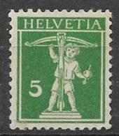SVIZZERA  1910-11   WALTER TELL NUOVO TIPO MODIFICATO UNIF. 136a MNH - Nuovi