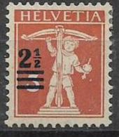 SVIZZERA  1921 SOPRASTAMPATI CON NUOVO VALORE UNIF. 179  MLH VF - Svizzera
