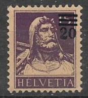 SVIZZERA 1921  FRANCOBOLLI SOPRASTAMPATI UNIF. 183 MNH XF - Svizzera