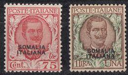 SOMALIA - 1927 - Lotto Composto Da Due Valori Nuovi Con Leggere Tracce Di Linguella: Yvert 95 E 96. - Somalia