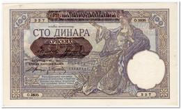 YUGOSLAVIA,100 DINARA,1941,AU - Yugoslavia