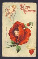 Flower Face Child ~ Cherub Red Heart Red Poppy To My Valentine Embossed 1910 - Valentine's Day