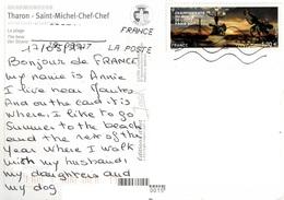 23A : France Wrestler Monument Stamp Used On Tharon Plage Foot Bridge  Postcard - France