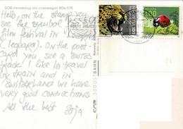 23A :Switzerland Leopard & Bug Stamps Used On Sudostbahn Train Postcard - Switzerland