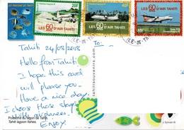 23A : France Tahiti Airplane Stamps Used On Fish Postcard - Tahiti (1882-1915)