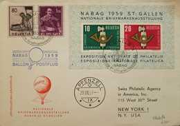 O) 1959 SWITZERLAND, NATIONAL PHILATELIC EXHIBITION NABAG 1959 - POST HORN, DYING WARRIOR SCT 273, JURG JENATSH SCT 276, - Svizzera