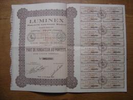 1927 Bond Action Share Coupons LUMINEX Publicite Lumineuse Mobile PART FONDATEUR - Actions & Titres
