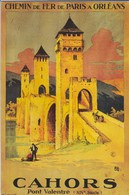 46---CAHORS--Pont Valentré--reproduction D'affiche Chemins De Fer De PARIS à ORLEANS-( Gravure Signée ALO )-voir 2 Scans - Ferrovie