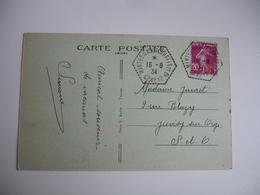 Nantes Gassincourt Cp 12  Recette Auxiliaire Obliteration Sur Lettre - Poststempel (Briefe)