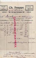 BELGIQUE- BRUXELLES- UCCLE- RARE FACTURE CH. SNAPPE -PEINTRE DECORATEUR-PEINTURE DECORS-1919 - Old Professions