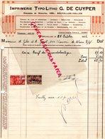 BELGIQUE BRUXELLES-RARE FACTURE IMPRIMERIE TYPO-LITHO G. DE CUYPER-CHAUSSEE WATERLOO- 1926 - Imprenta & Papelería