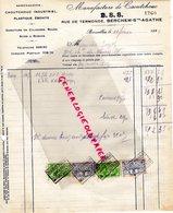 BELGIQUE BRUXELLES-RARE FACTURE MANUFACTURE CAOUTCHOUC- B.S.S.-BERCHEM SAINTE AGATHE-EBONITE- RUE DE TERMONDE-1927 - Imprenta & Papelería