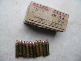 Boite Cartouches Usm1 Winchester 1944 Et 10 Cartouches Ww 2 Neutralisées - Armes Neutralisées