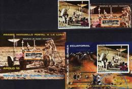 USA Raumfahrt 1972 Apollo 15 Guinea 25A/B,Block 1+2 O 4€ Monderforschung Hb Ss Blocs Space Sheets Bf Ecuator.Africa - Equatorial Guinea