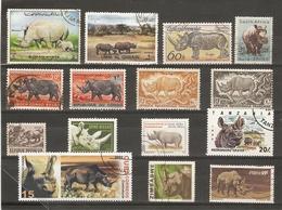 Rhinocéros - Petit Lot De 15 Timbres° + 1 CP Neuve - Le Livre De Klaas Vaak - ABC Du Sommeil - Rien Poortvliet - 2 Scans - Timbres