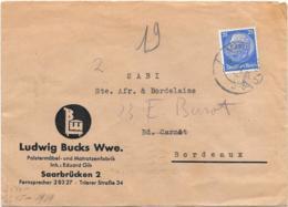 LETTRE DE SAARBRÜCKEN..1941..BANDE DE CENSURE..AU DOS..FIYER AU DOS .BORDEAUX RP.1941. - Brieven En Documenten