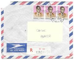 LETTRE RECOMMANDE DE KINSHASA..1975... PAR AVION POUR LA FRANCE...TBE....TIMBRE AU DOS.....SCAN - Zaïre