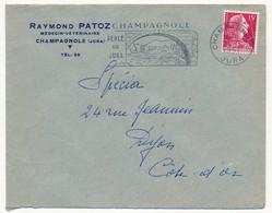 Enveloppe En-tête - Raymond PATOZ Vétérinaire Champagnole Jura - OMEC Champagnole Perle Du Jura 1957 - Publicités